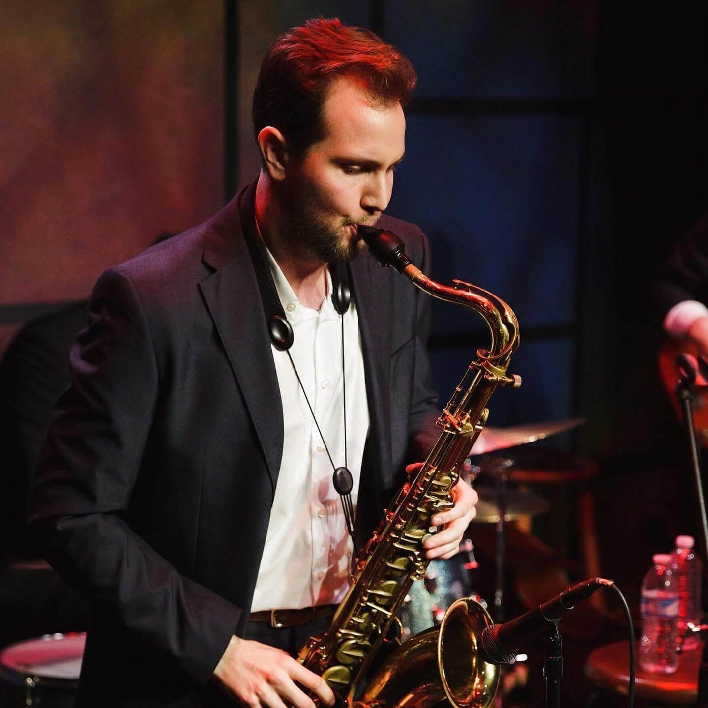 Garrett Becker playing saxophone